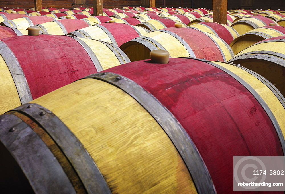 Close up of wine barrels in cellar, Napa, California, USA