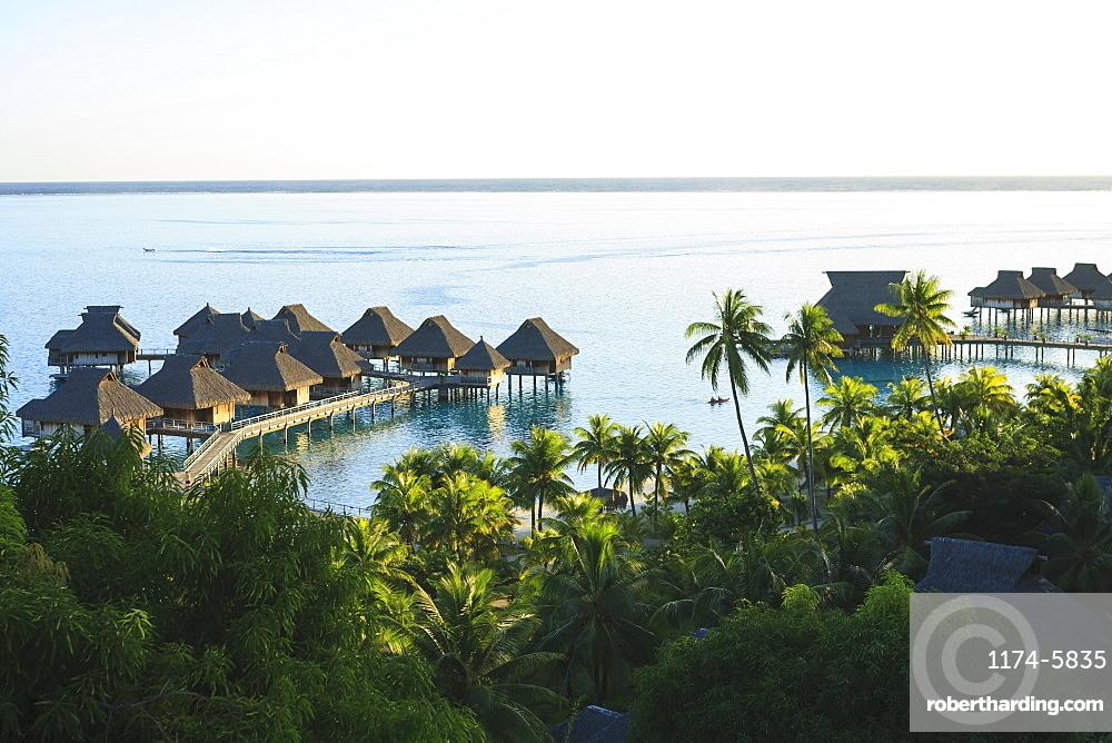 Palm trees overlooking tropical resort, Bora Bora, French Polynesia, Bora Bora, Bora Bora, French Polynesia