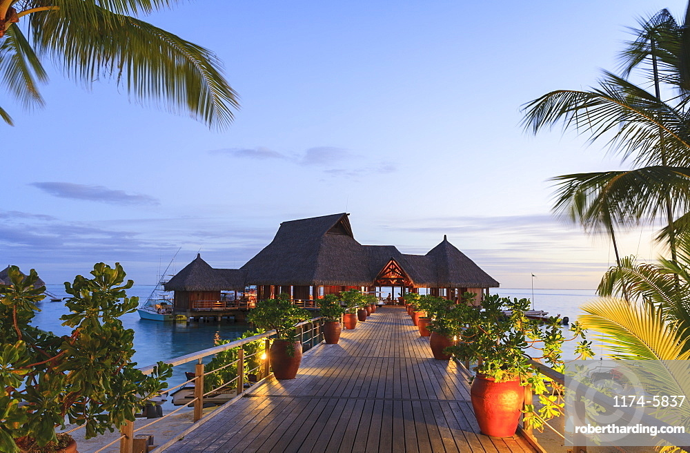 Deck and restaurant over tropical ocean, Bora Bora, French Polynesia, Bora Bora, Bora Bora, French Polynesia