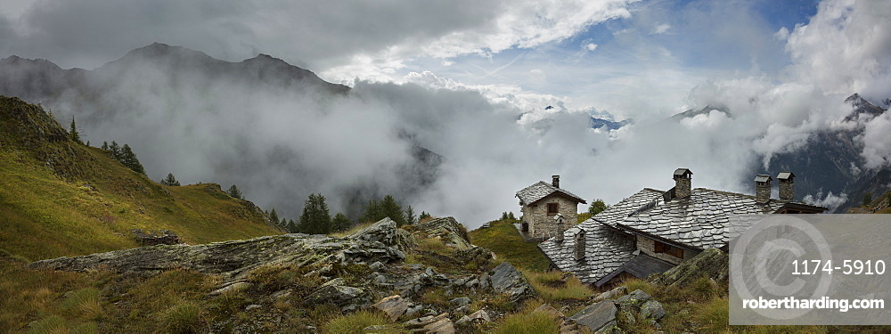 Stone cottage near Mt Blanc trail, Bertone Refuge, Italy, Near Bertone Refuge, Italy