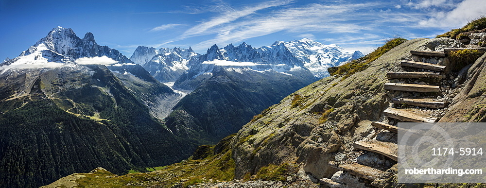Stairs on ascent to Grand Balcon du Sud, Mt. Blanc, France, Mount Blanc, France