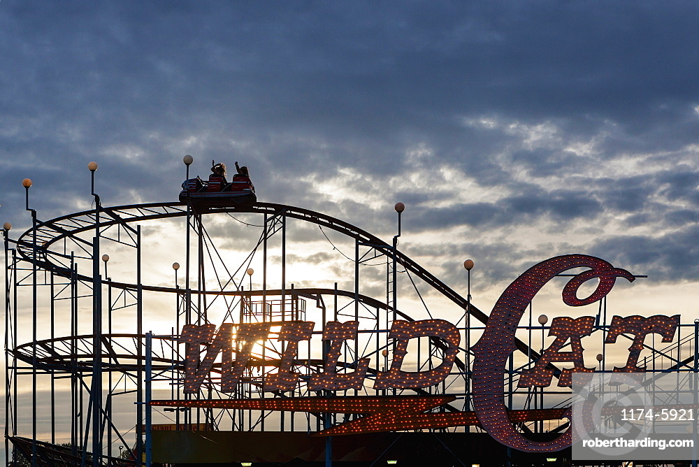 Silhouette of wild cat rollercoaster at Puyallup Fair, Puyallup, Washington, United States, Puyallup, Washington, USA