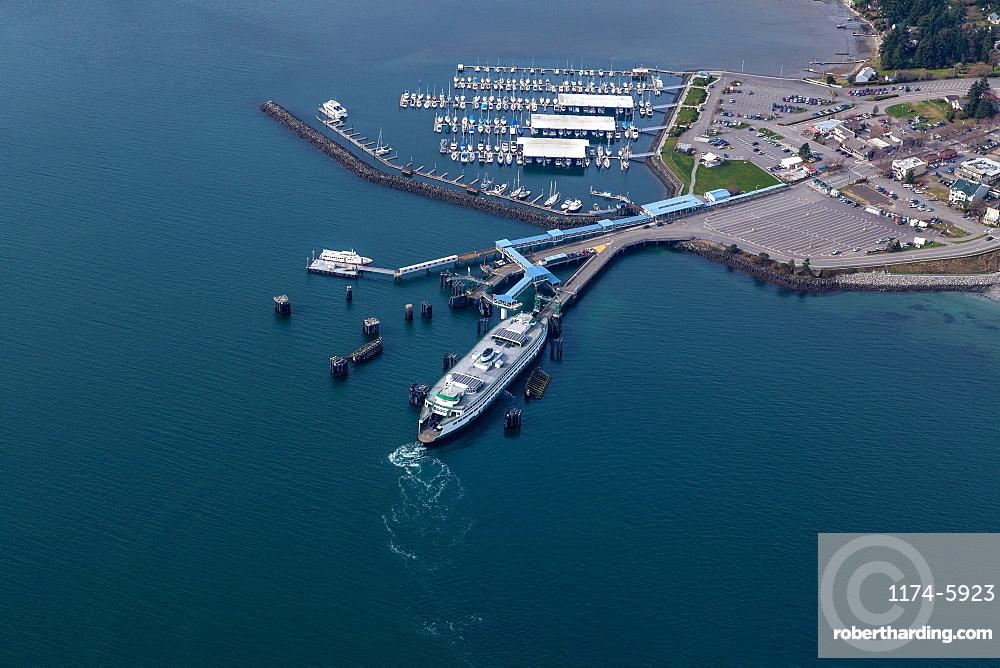 Aerial view of ferry terminal in Seattle harbor, Seattle, Washington, United States, Seattle, Washington, USA
