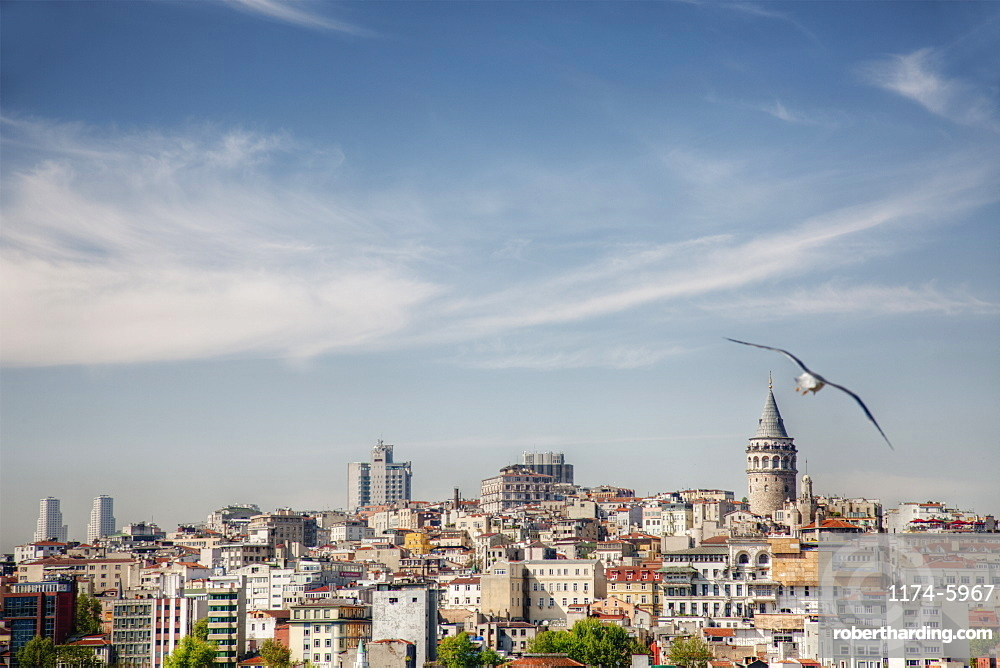Istanbul city skyline under blue sky, Turkey