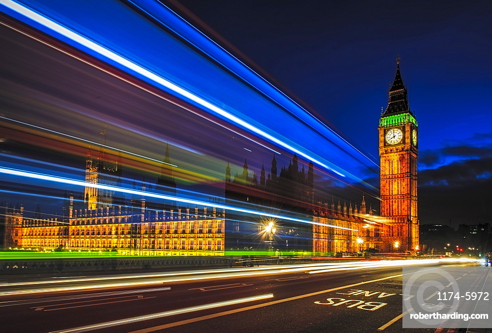 Long exposure view of traffic by Big Ben, London, United Kingdom