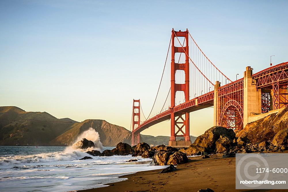 View of Golden Gate Bridge from beach, San Francisco, California, United States