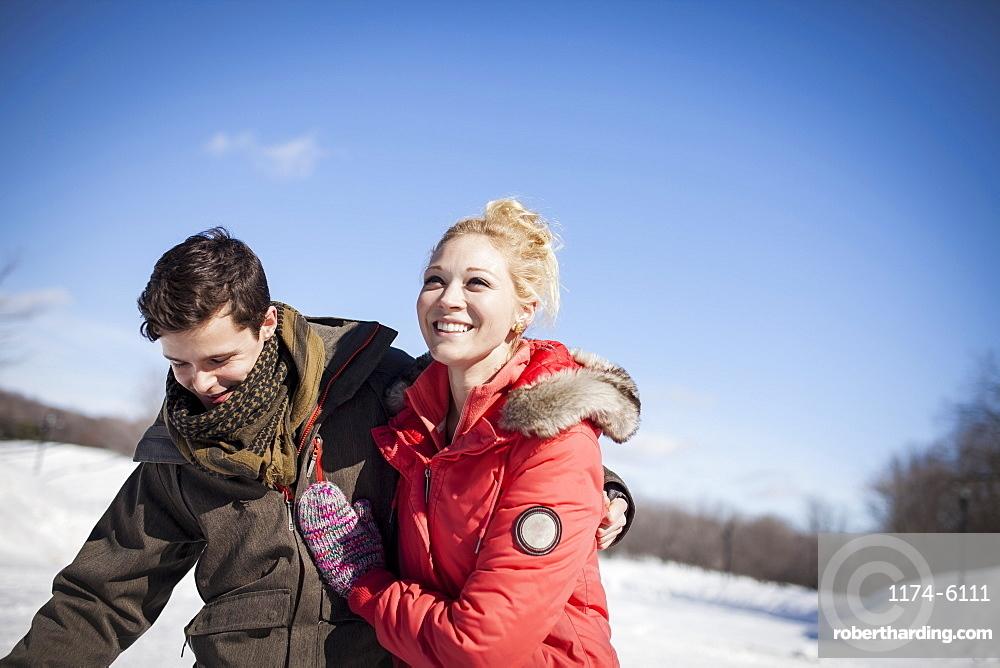 Caucasian couple in winter