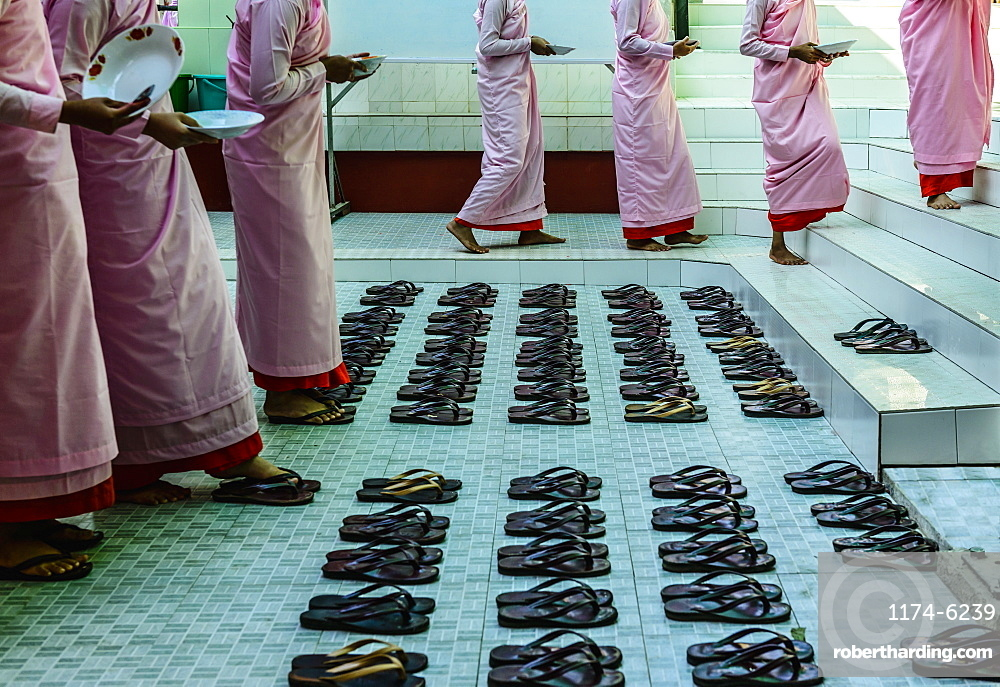 Monks leaving sandals near staircase, Myanmar, Burma