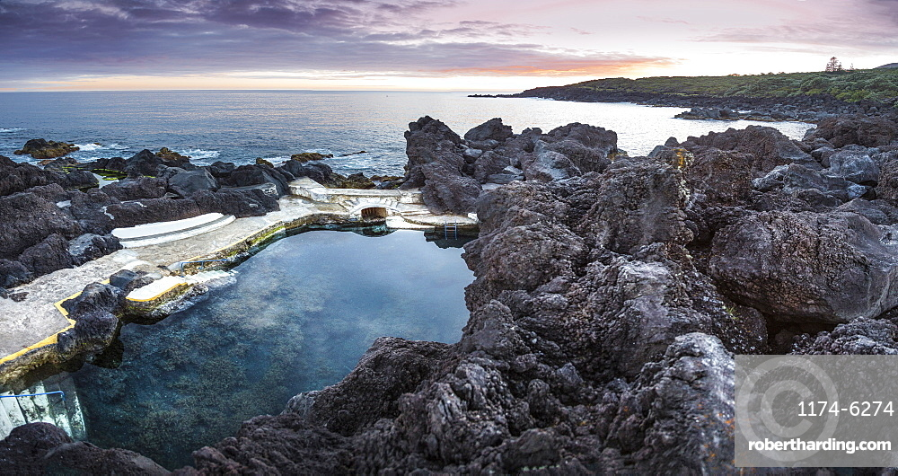 High angle view of rock formations in beach, Varadouro, Faial, Portugal