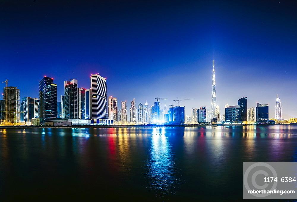 Dubai city skyline and waterfront, United Arab Emirates, Dubai, United Arab Emirates