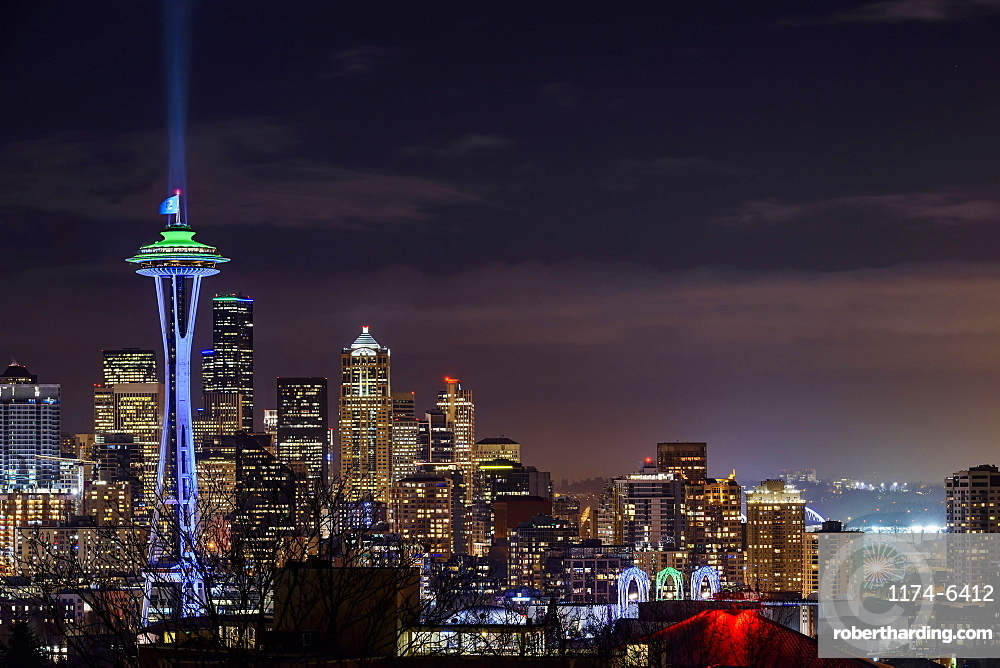 Illuminated cityscape, Seattle, Washington, United States, Seattle, Washington, USA