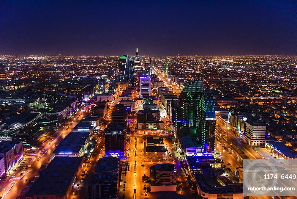 Streets in illuminated cityscape, Riyadh, Saudi Arabia, Riyadh, Saudi Arabia