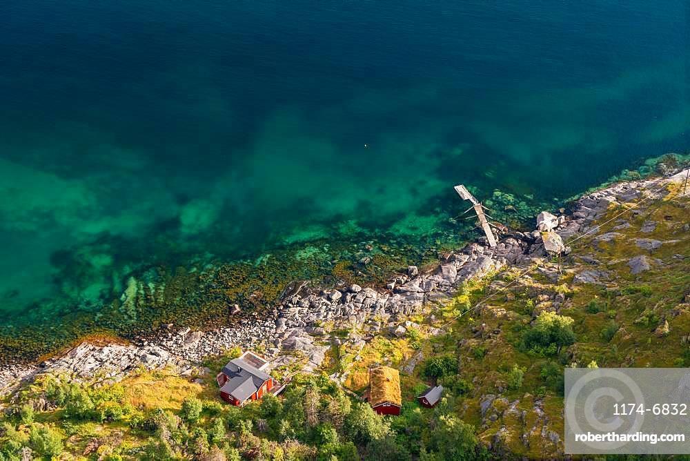 Aerial view over colourful sea & house, Henningsvaer, Austvagoy, Nordland, Lofoten Islands, Norway