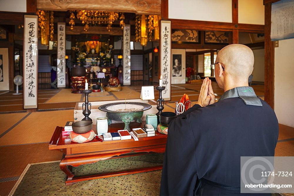 Buddhist priest kneeling in Buddhist temple, praying, Kyushu, Japan