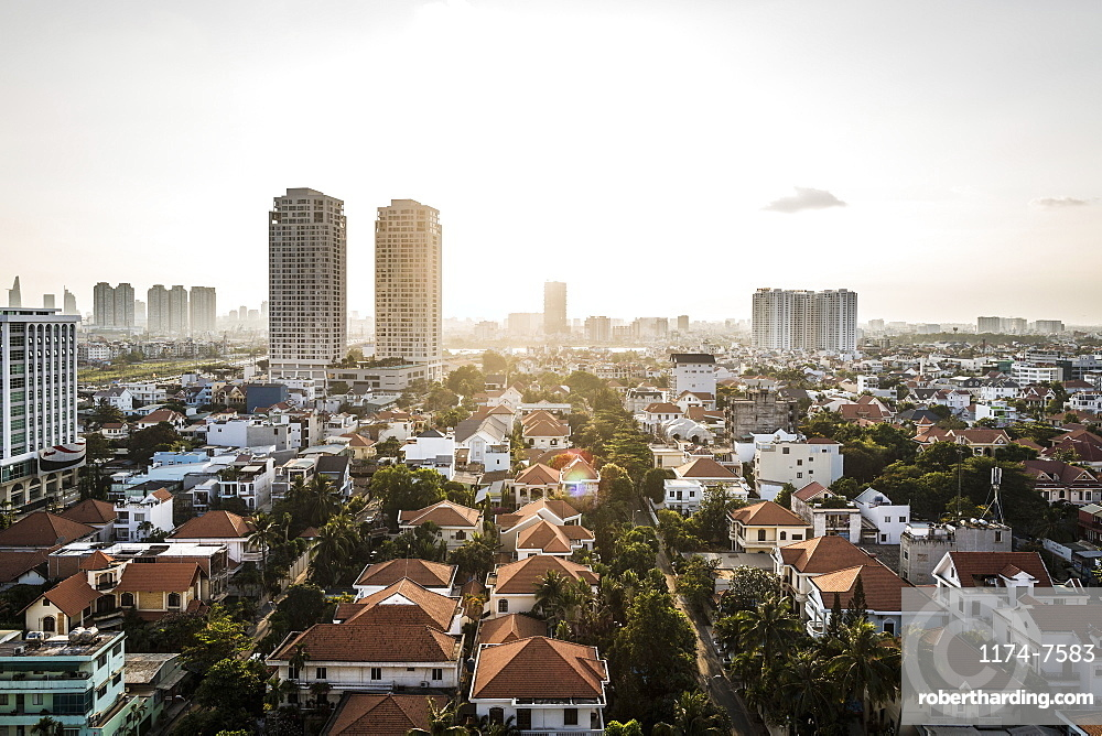 A view over District 2 and beyond, Ho Chi Minh City, Vietnam