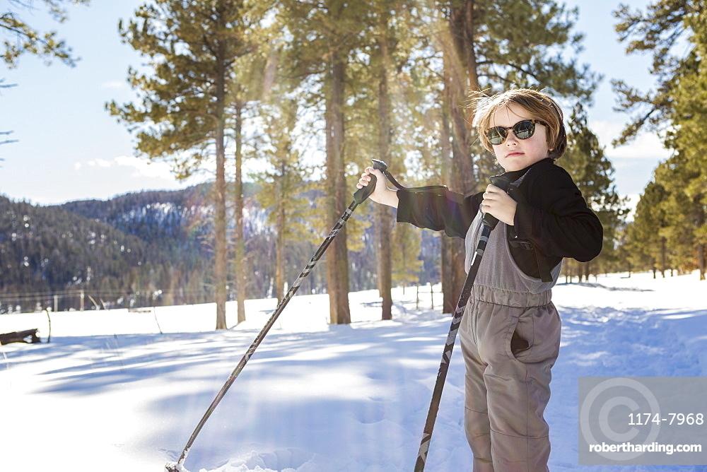 A six year old boy in woodland holding ski poles