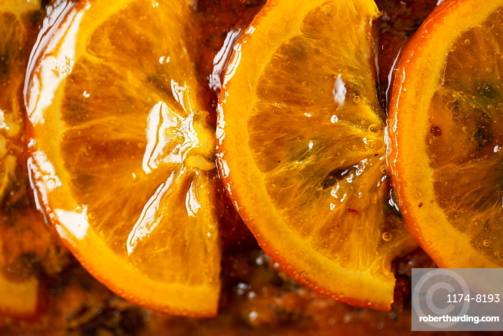 High angle close up of slices of candied orange
