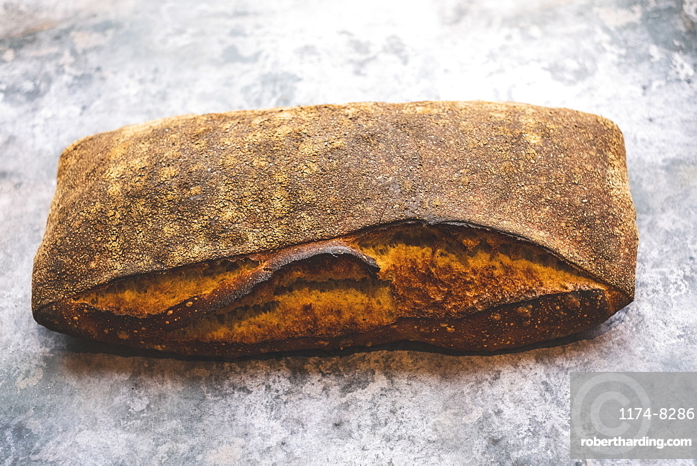 Artisan bakery making special sourdough bread, a baked loaf with firm dark crust