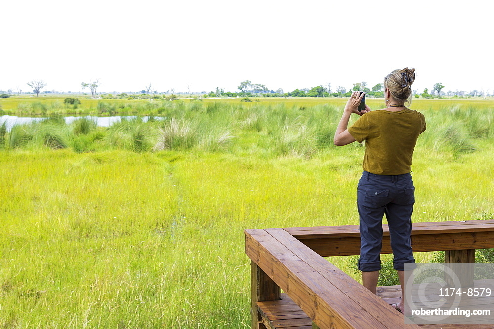 adult woman photographing scenic landscape, Botswana