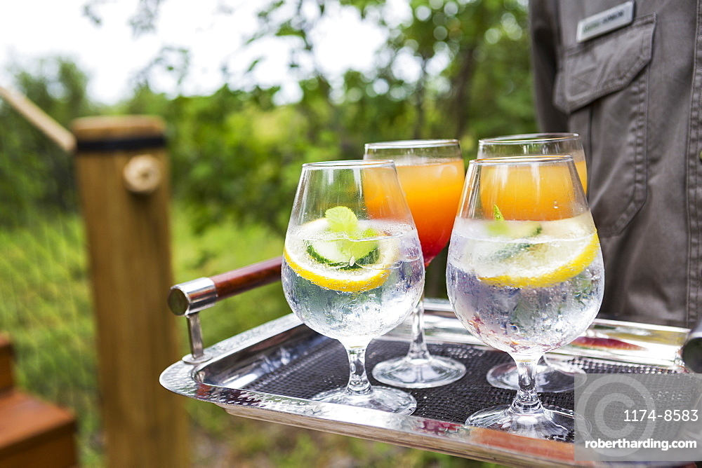 close up of colorful drinks, tented camp, Botswana