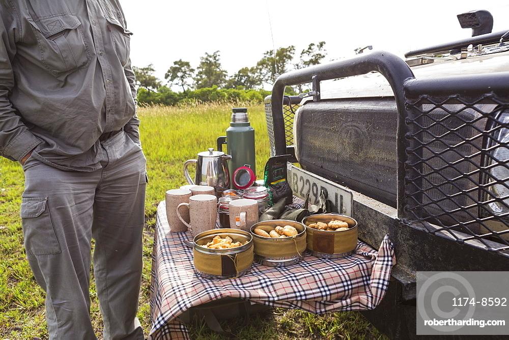 detail of snacks and drinks on safari vehicle, Botswana