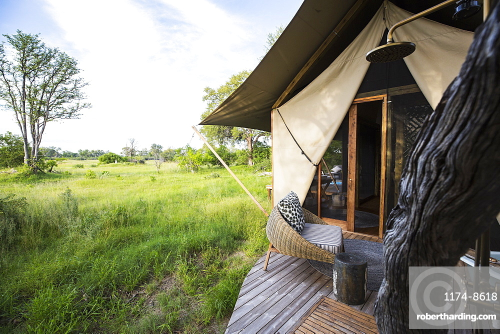 Exterior of a tent, tourist accommodation in a safari camp, Botswana