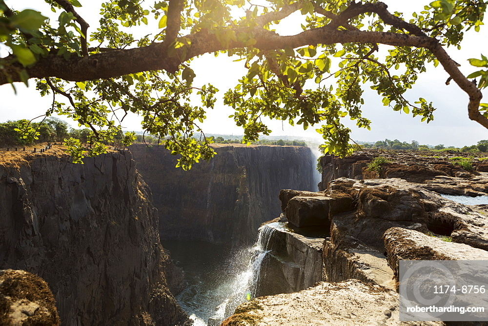 Victoria Falls from the Zambian side, view of the vertical cliffs of the river gorge, and water flowing fast, Victoria Falls, Zambia