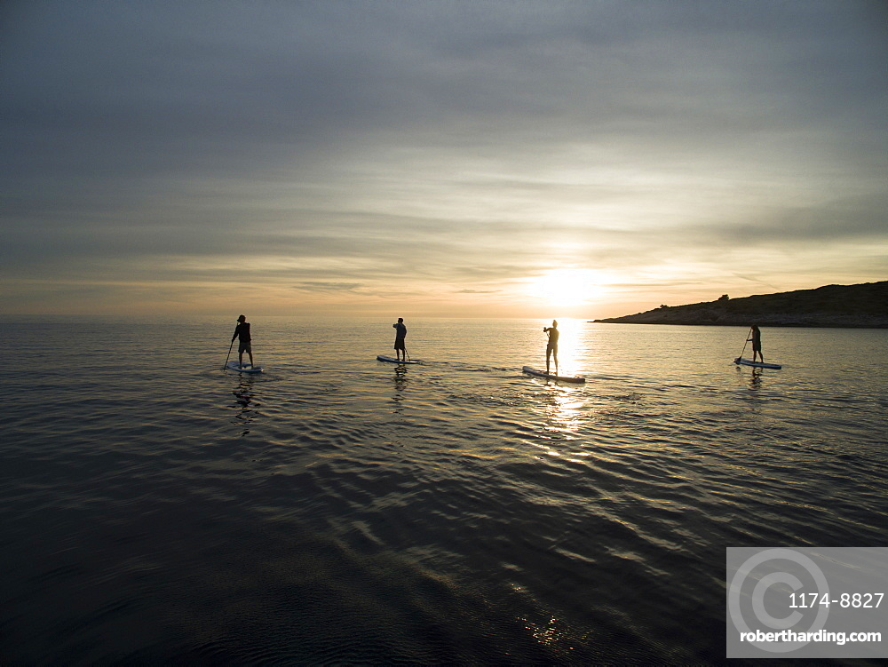 High angle shot of people on paddleboards at sunset