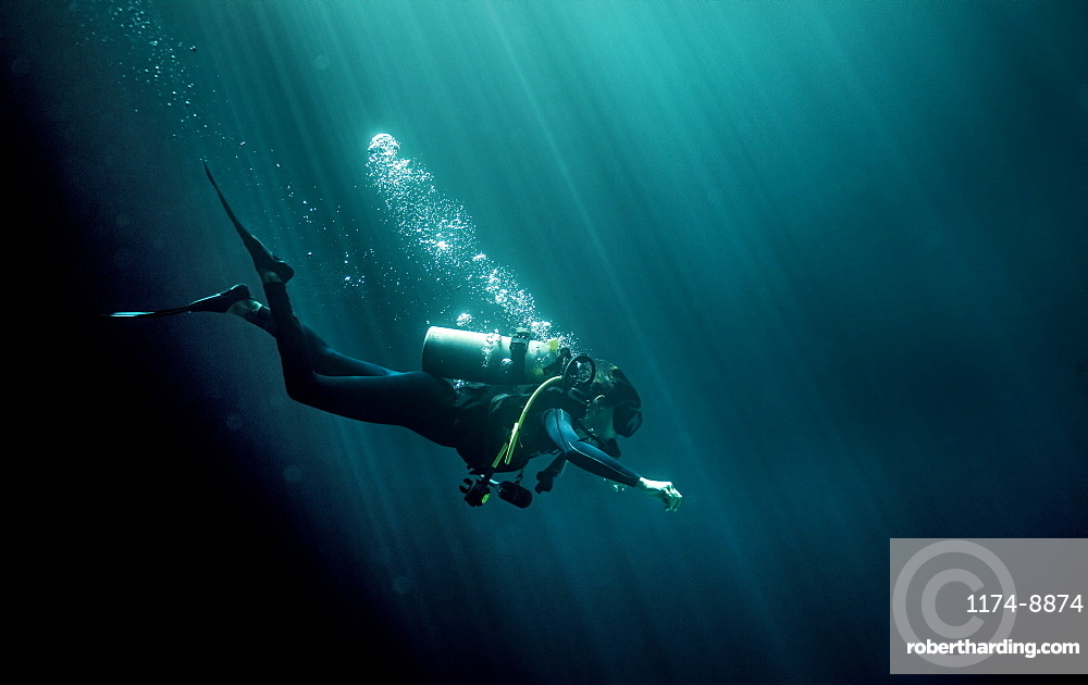 Underwater view of diver wearing wetsuit, diving goggles and oxygen cylinder, air bubbles rising, United States of America