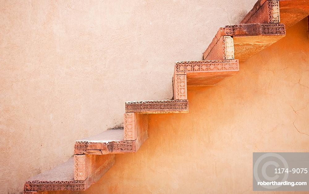 Steps on an Exterior Wall, Agra, Uttar Pradesh, India