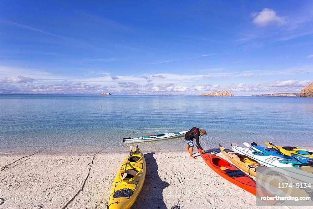 Colorful kayaks lying on the beach, Isla Espiritu, Sea of Cortes, Mexico