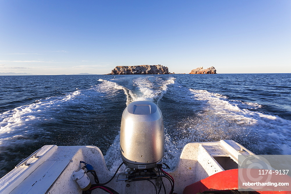 View from power boat across the Sea of Cortes, also known as the Gulf of California, Mexico