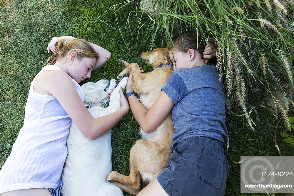Two teenage girls lying on lawn, hugging their Golden Retriever dogs, New Mexico, United States