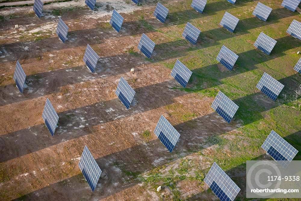 Aerial view of solar panels on a field, Huelva Province, Spain, Huelva Province, Spain