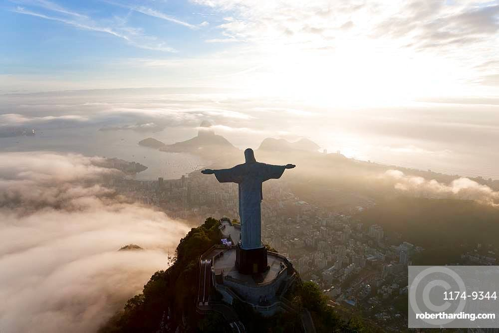 View of the Art Deco statue of Christ the Redeemer on Corcovado mountain in Rio de Janeiro, Brazil