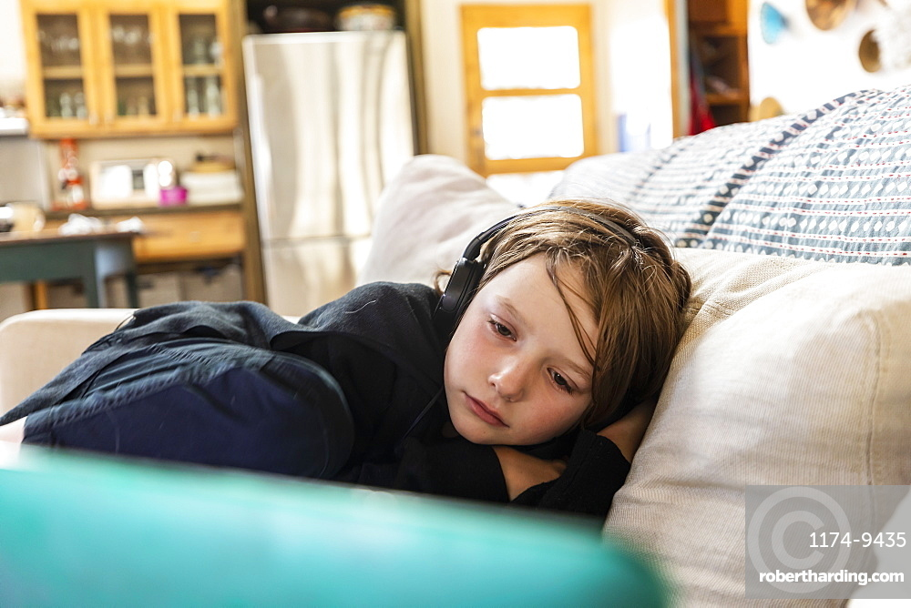 Young boy lying on sofa looking at laptop computer