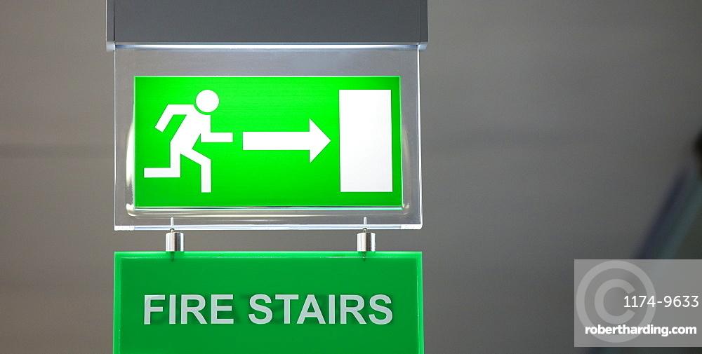 Lit emergency exit sign