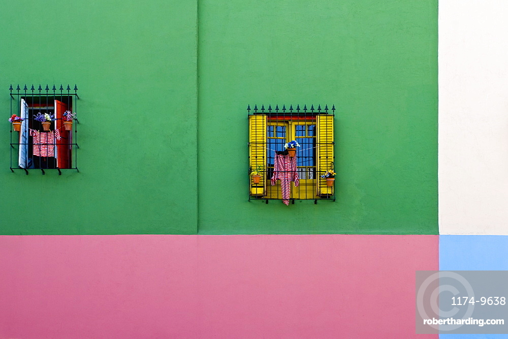 Windows in Colorful Building Exterior