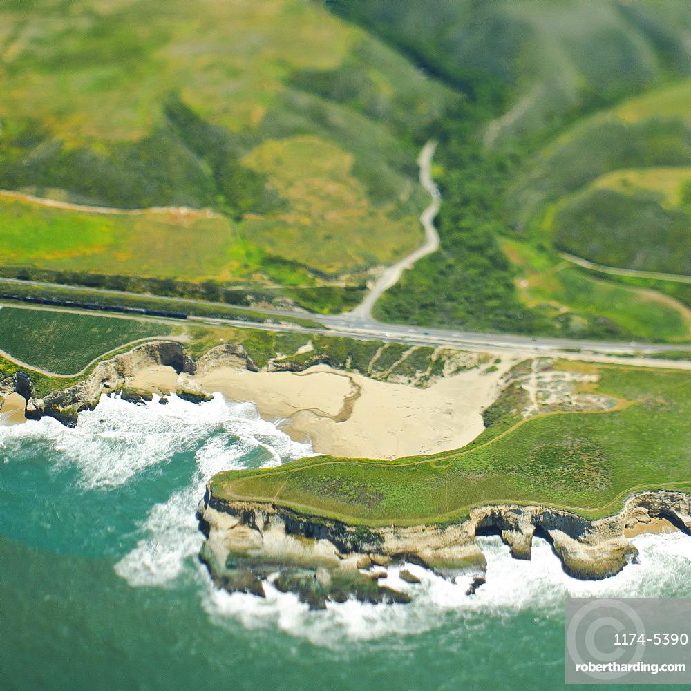 Coastal Road and Hills, San Mateo, California, United States of America