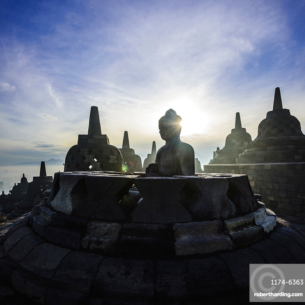 Silhouette of monuments in Borobudur, Jawa Tengah, Indonesia, Borobudur, Jawa Tengah, Republic of Indonesia