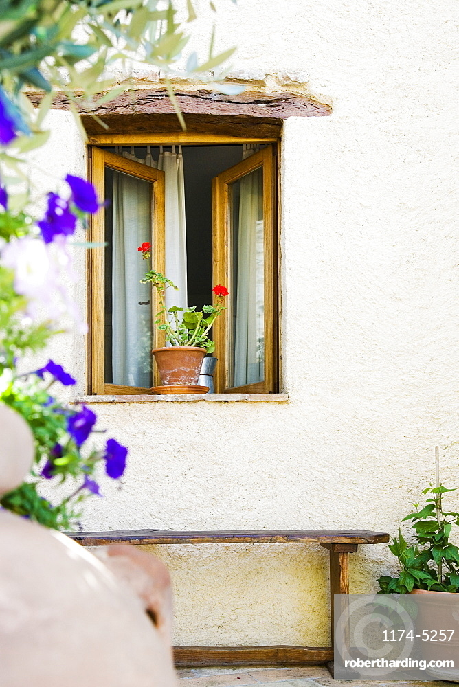 Open Window With Potted Plant and Bench, Spoleto, Italy