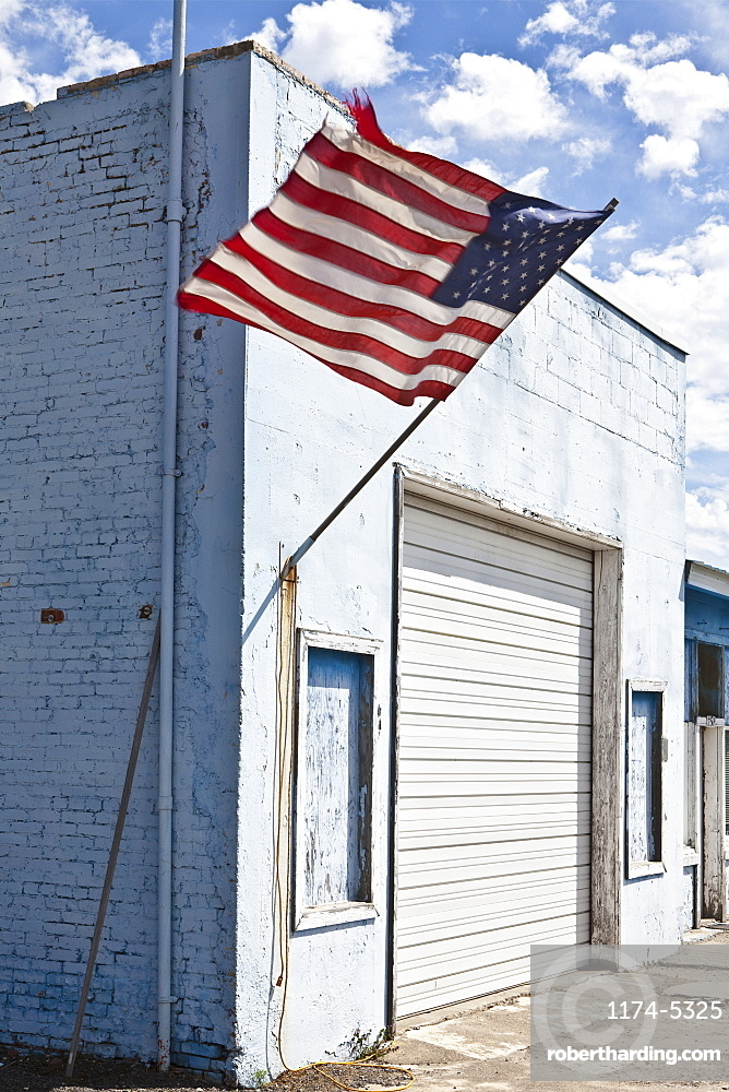 American Flag on an Abandoned Building, Moscow, ID, United States of America