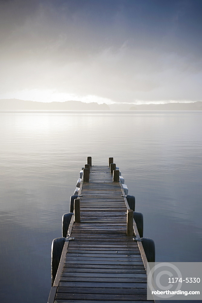 Wooden Jetty Over a Lake, Taupo, North Island, New Zealand