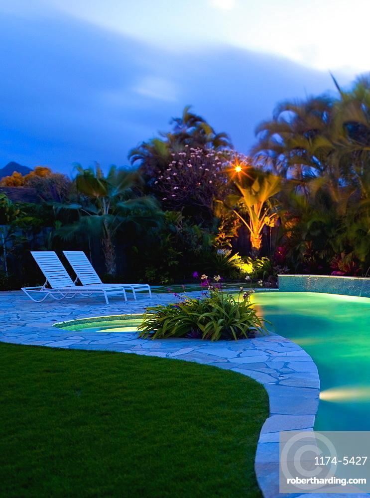 Tropical Backyard Pool at Night, Hawaii, United States of America