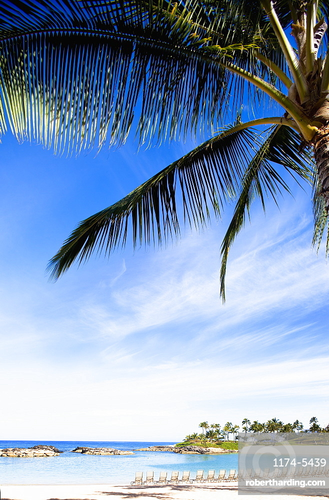 Chairs Lined Up on the Beach in Ko Olina Beach Park, Oahu, Hawaii, Kapolei, HI, United States of America