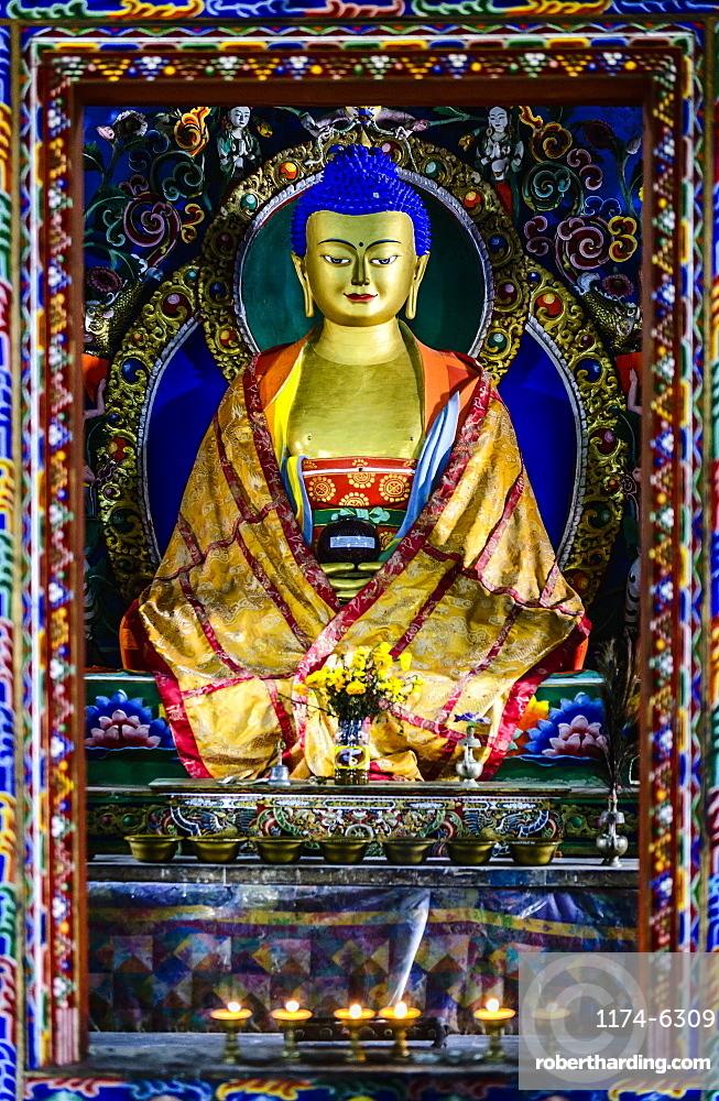 Buddha statue in shrine, Bhutan, Kingdom of Bhutan