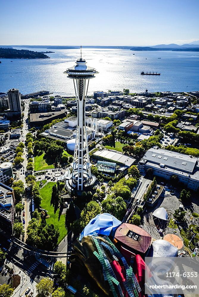 Aerial view of Space Needle in Seattle cityscape, Washington, United States, Seattle, Washington, USA