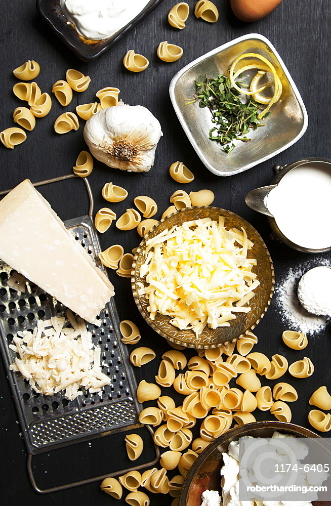 High angle view of cheese and pasta ingredients, Seattle, Washington, USA
