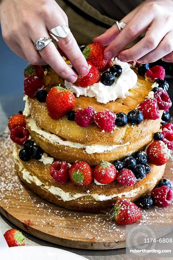 A woman cook assembling a layer cake with fresh cream and fresh fruit, strawberries and blueberries