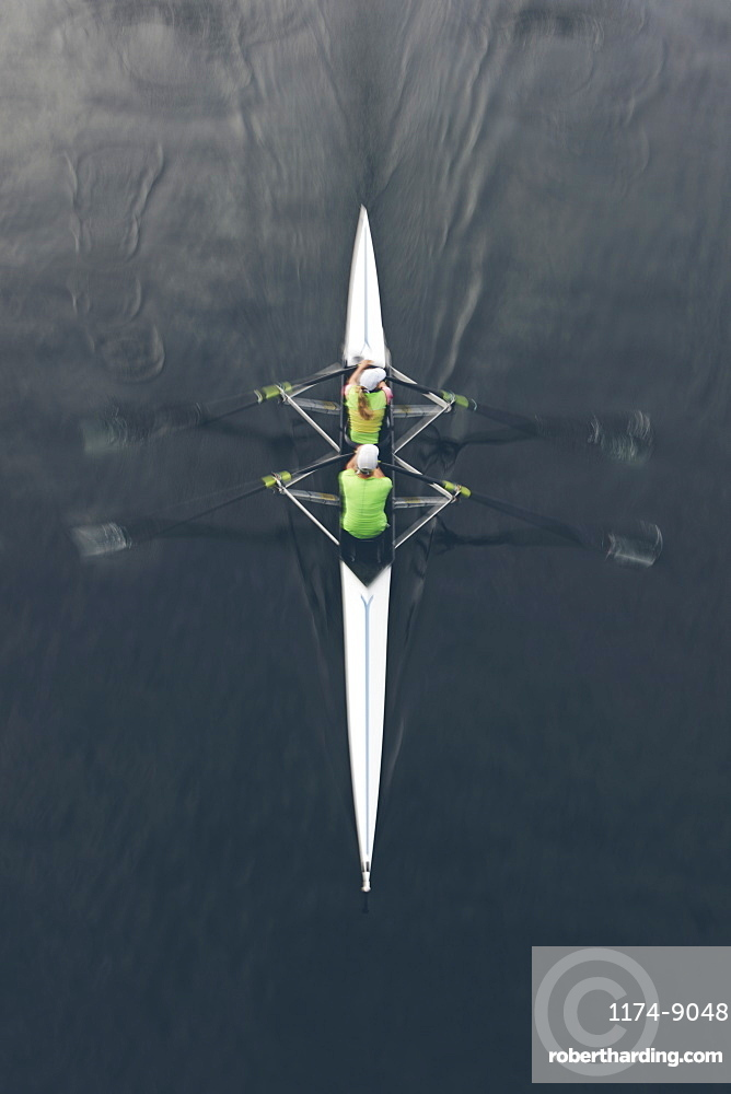 Overhead view of a double scull pair rowing together, two people, Washington, United States